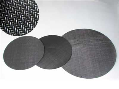 Twill weave black wire cloth extruder screen-round shape black wire cloth disc